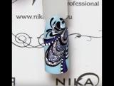 Зимний дизайн ногтей с жидким металлом