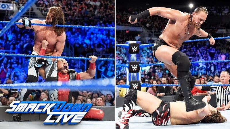 Эй Джей Стайлз (ч.) и Дэниал Брайан пр. Русева и Эйдына Инглиша: SmackDown Live (17.04.18)