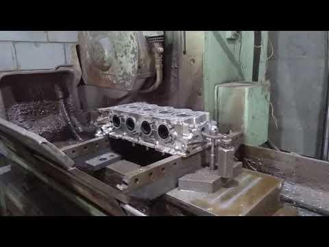 Подготовка ( шлифовка ) головы блока цилиндров ( ГБЦ ) перед сборкой мотора . Двигатель G4NA.