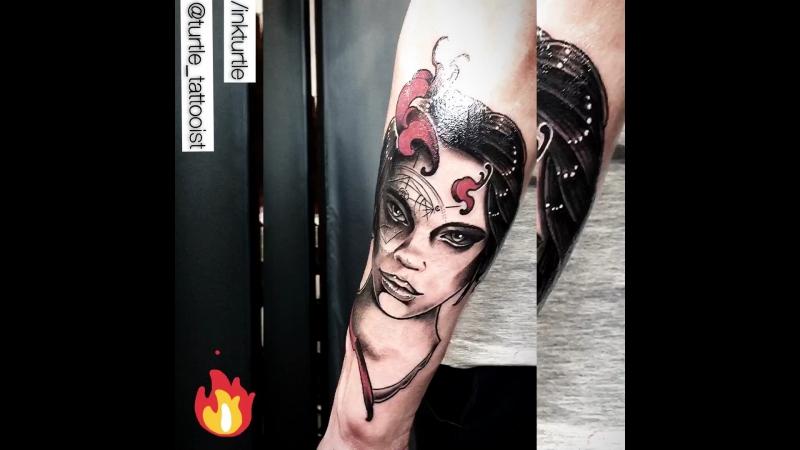 Mystical girl by @turtle_tattooist
