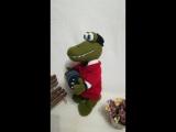 Крокодил Гена, вязаная спицами игрушка