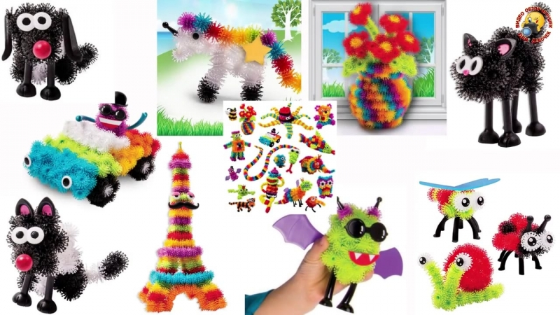Детский конструктор Банчемс Обзор игрового набора Делаем фигурки животных Bunchems
