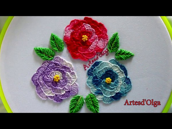 Blanket Stitch Roses   Rosas en Puntada Feston   Hand Embroidery Tutorial by Artesd'Olga