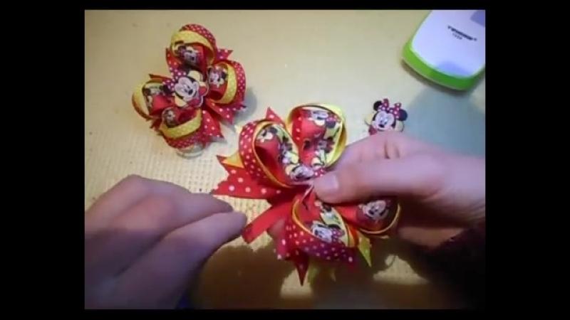 АМЕРИКАНСКИЕ БАНТИКИ Минни Маус DIY МК Канзаши