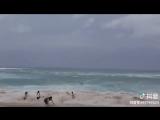 kids in danger of high tide