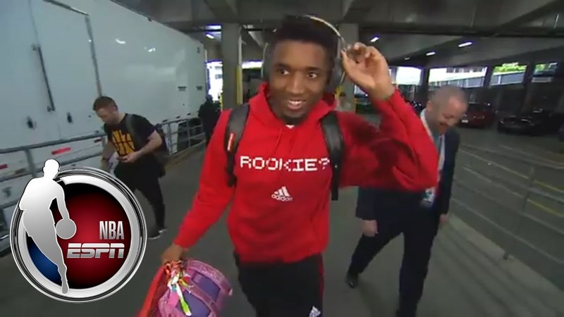 Donovan Mitchell dons 'Rookie?' hoodie before matchup with Blazers | NBA on ESPN