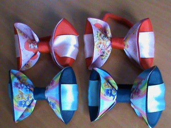 DIY/МК Как сделать бантики с мишками Гами на резиночках для наших принцесс.