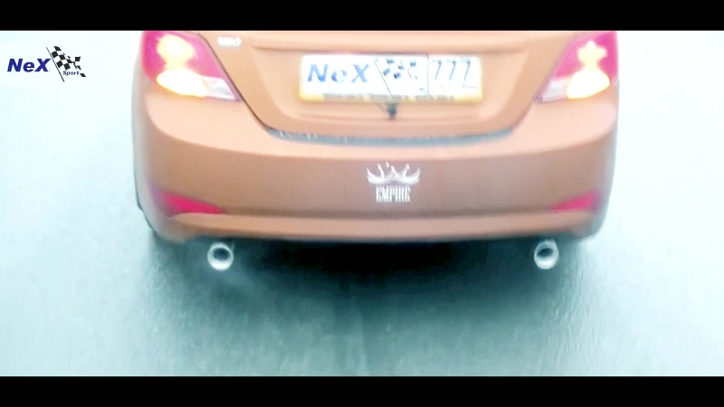 NeX® Hyundai Solaris Sedan Restyle ЭКСКЛЮЗИВ ТИЗЕР Глушитель раздвоенный насадки Ø 76 мм Just EMPIRE