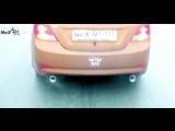 NeX® Hyundai Solaris Sedan Restyle. ЭКСКЛЮЗИВ! ТИЗЕР. Глушитель раздвоенный & насадки Ø 76 мм. Just EMPIRE
