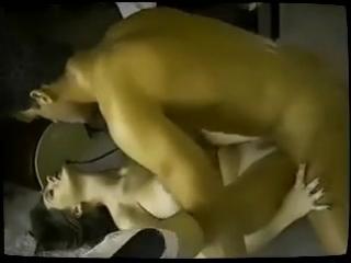 Screaming woman has aggressive orgasm