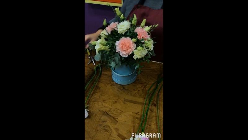 Шляпная коробка с цветами сборка