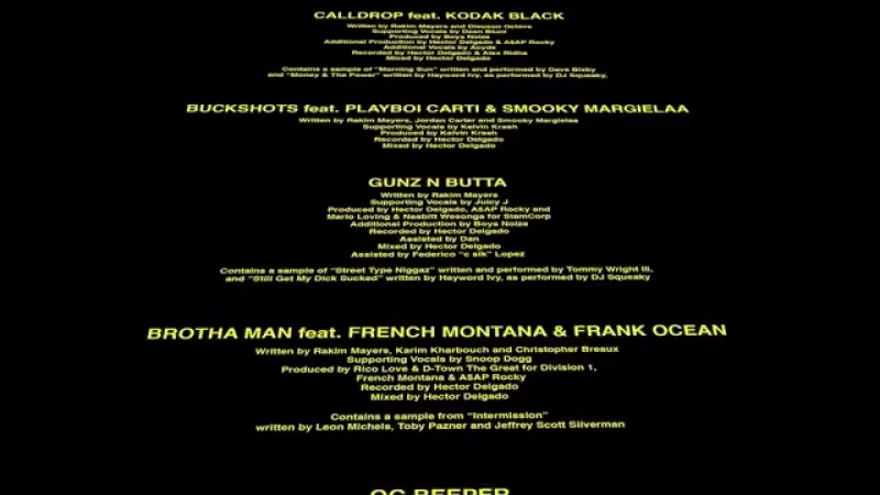 TESTING: OFFICIAL CREDITS AND TRACKLIST