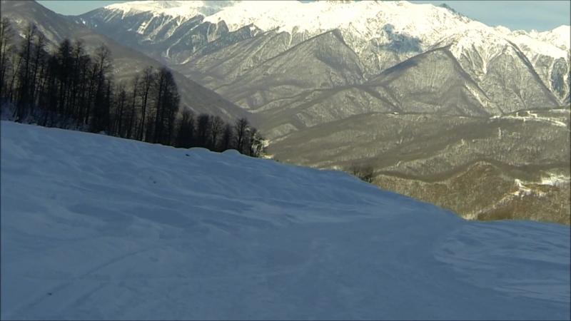 Газпром Альпика 29 декабря 2017 года. Спуск с 2256 до 1100 м. Красные и черные трассы. Обзор.