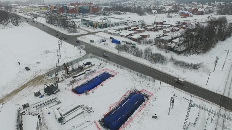 Аэросъемка. Начало строительства эстакады над деулинским переездом.