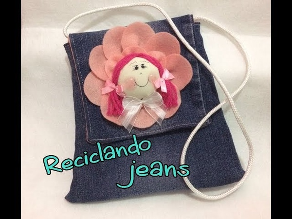 Diy bolsa infantil feita com perna de calça jeans reciclandojeans