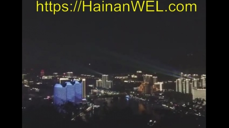 Вид на ночной Санья, остров Хайнань, Китай- световые и лазерные шоу с иллюминацией домов - экскурсия на видео