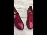 Женские кеды, из натуральной кожи, цвет - разные, на шнурках