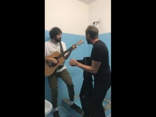 Ahead of Napoli's gig - Tom and Sergio in the shower.