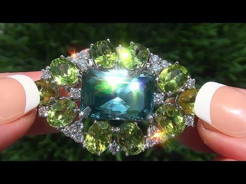 GIA Certified FLAWLESS Natural Blue Zircon Peridot Diamond 14k Gold Pendant Pin Necklace - C493