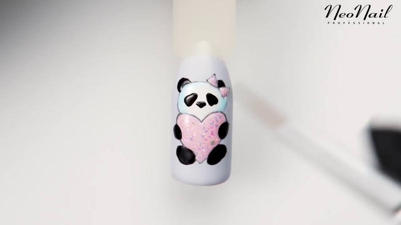 Мастер класс дизайн ногтей Панда к дню святого Валентина от Neonail Professional