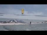 Kiteboarding in the caldera Gorely volcano -