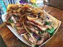 MASSIVE BEEF STEAK SANDWICH - GRILLED CHEESE ONION - COLESLAW - MIXED SALAD - LONDON STREET FOOD