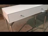 Консоль с выдвижным ящиком белый матовый цвет, подстолье нержавеющая сталь.
