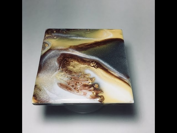 RESIN ART coaster set w golds, grey and bronze Metallics Pigments