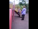 Катаемся на горке с бабушкой