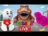 Colors for Children to Learn with Squishy Dinosaur Videos For Kids by HooplaKidz Edu LIVE STREAM