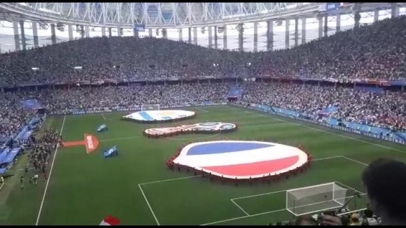 Открытие матча.Вынос флагов, гимны стран. 6 июля 2018. 14-я финала матч Франция-Уругвай с другого ракурса