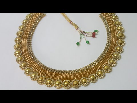 (DIY)HOW TO MAKE PARTY WEAR NECKLACEPAPER NECKLACETHE STUNNING HANDMADE'S..