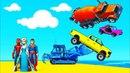 Мультики про Машинки и Цветные Грузовики Бульдозер Джип и Трактор для Детей и Песенки для Малышей