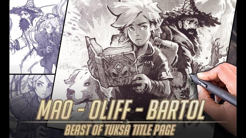 Mao - Oliff - Bartol (Beast of Tuksa title page time lapse artwork)