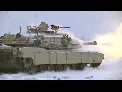 US Army Tanks Heavy Live Fire In Poland - M1A1 Abrams Tanks Heavy Live Fire In Snow POV GoPro