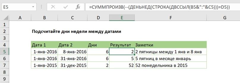 Подсчитайте дни недели между датами