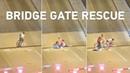 Bicyclistweaves past lift bridge gates tumbles into gap