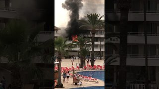 hotel in Magaluf on fire