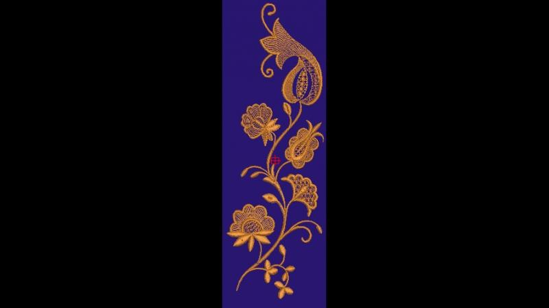 Вышивка орнамента в национальном стиле.