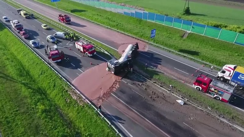 Raw Video: Truck Overturns In Poland, Spilling Chocolate Everywhere