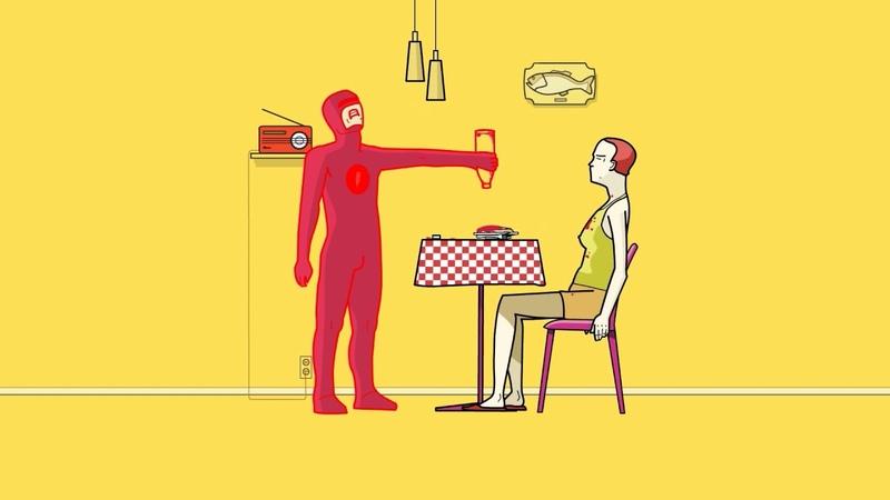 Superhero The Tomatoman in actionСупергерой Томатомэн в действии