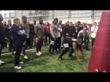 Bill Belichick getting a first-hand look at every defensive lineman at NC State Pro Day ht
