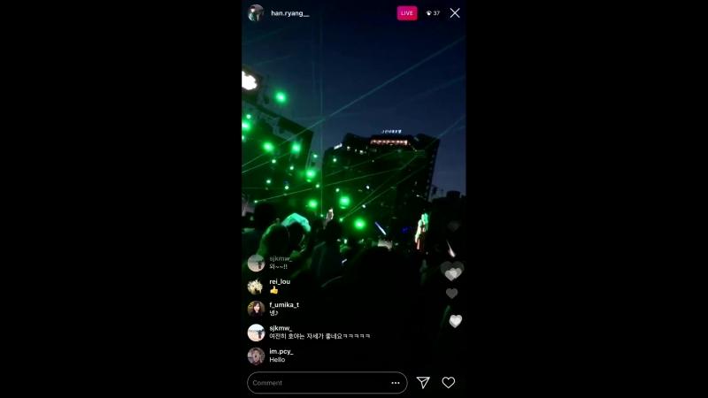 180728 Трансляция Барама в инстаграме Хоя выступает с песней Angel на NICE DAY LAND 2018 1