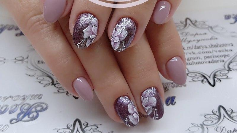 [En,de,fr,es CC] Весенние цветы. Сиреневый цвет. Простой и быстрый дизайн ногтей.
