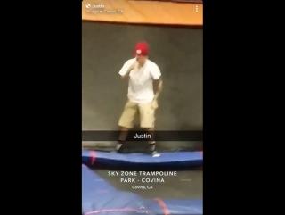 February 3: Fan taken video of Justin at Sky Zone in Los Angeles, California