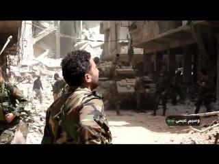 САА штурмует позиции Исламского государства в лагере Ярмук, используя Т-72 и бронебульдозер и ведет обстрел реактивными ракетами