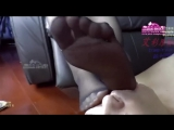 Footstool worship black heels and pantyhose Chinese girl