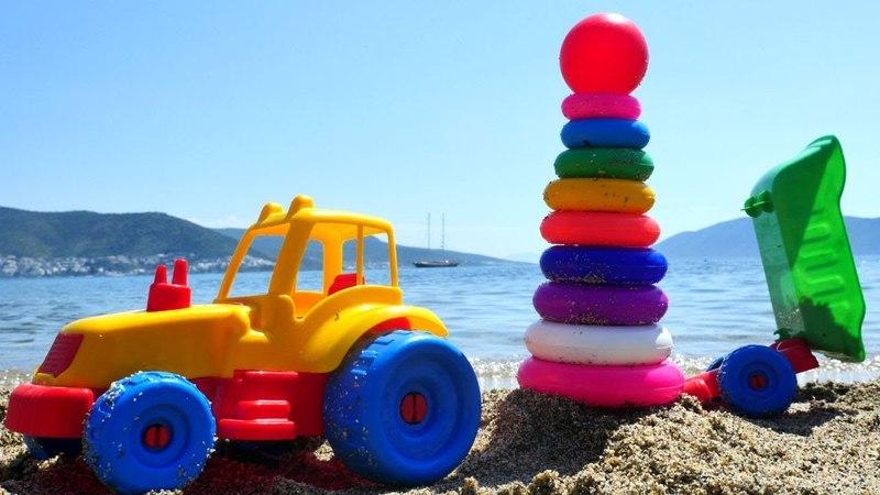 Aprendemos los colores. Juegos en la playa. Coches para niños.