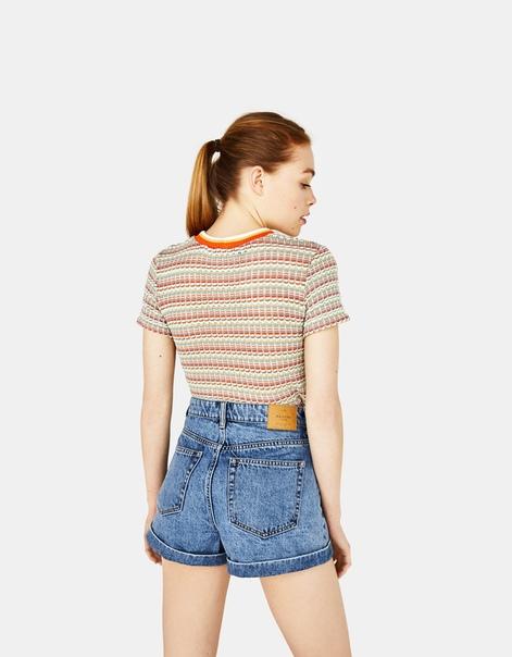 Джинсовые шорты с высокой талией и отворотами