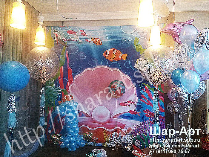 оформления большими шарами с конфетти и кисточками фото зоны и баннера